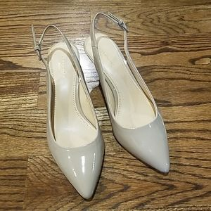Nude Sling Back Heels size 5 1/2 with 2 in heel